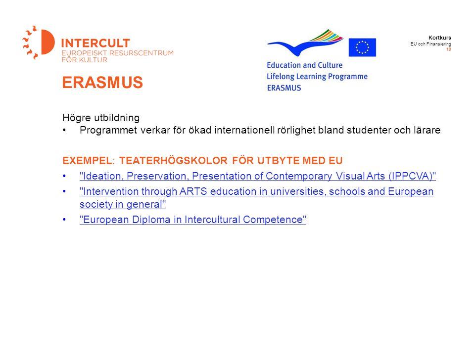 Kortkurs EU och Finansiering 10 Högre utbildning Programmet verkar för ökad internationell rörlighet bland studenter och lärare EXEMPEL: TEATERHÖGSKOL