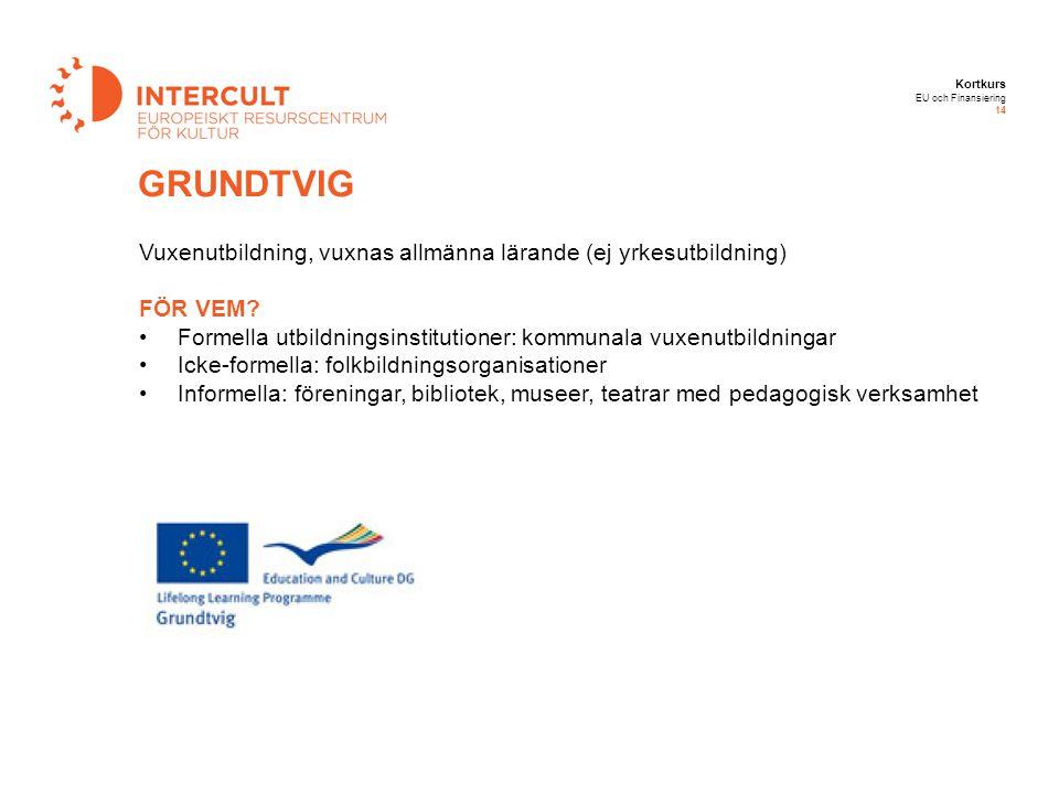 Kortkurs EU och Finansiering 14 GRUNDTVIG Vuxenutbildning, vuxnas allmänna lärande (ej yrkesutbildning) FÖR VEM? Formella utbildningsinstitutioner: ko