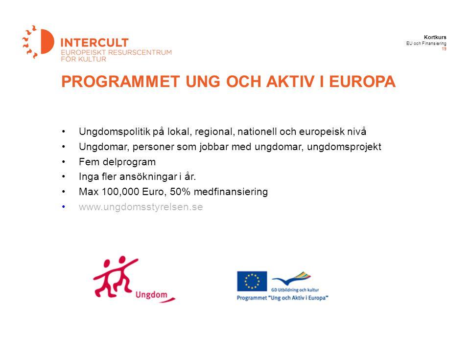 Kortkurs EU och Finansiering 19 Ungdomspolitik på lokal, regional, nationell och europeisk nivå Ungdomar, personer som jobbar med ungdomar, ungdomspro
