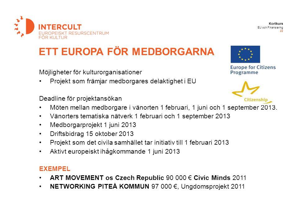 Kortkurs EU och Finansiering 22 ETT EUROPA FÖR MEDBORGARNA Möjligheter för kulturorganisationer Projekt som främjar medborgares delaktighet i EU Deadl