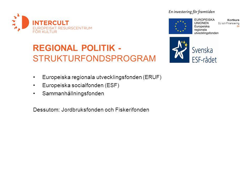 Kortkurs EU och Finansiering 24 Europeiska regionala utvecklingsfonden (ERUF) Europeiska socialfonden (ESF) Sammanhållningsfonden Dessutom: Jordbruksf