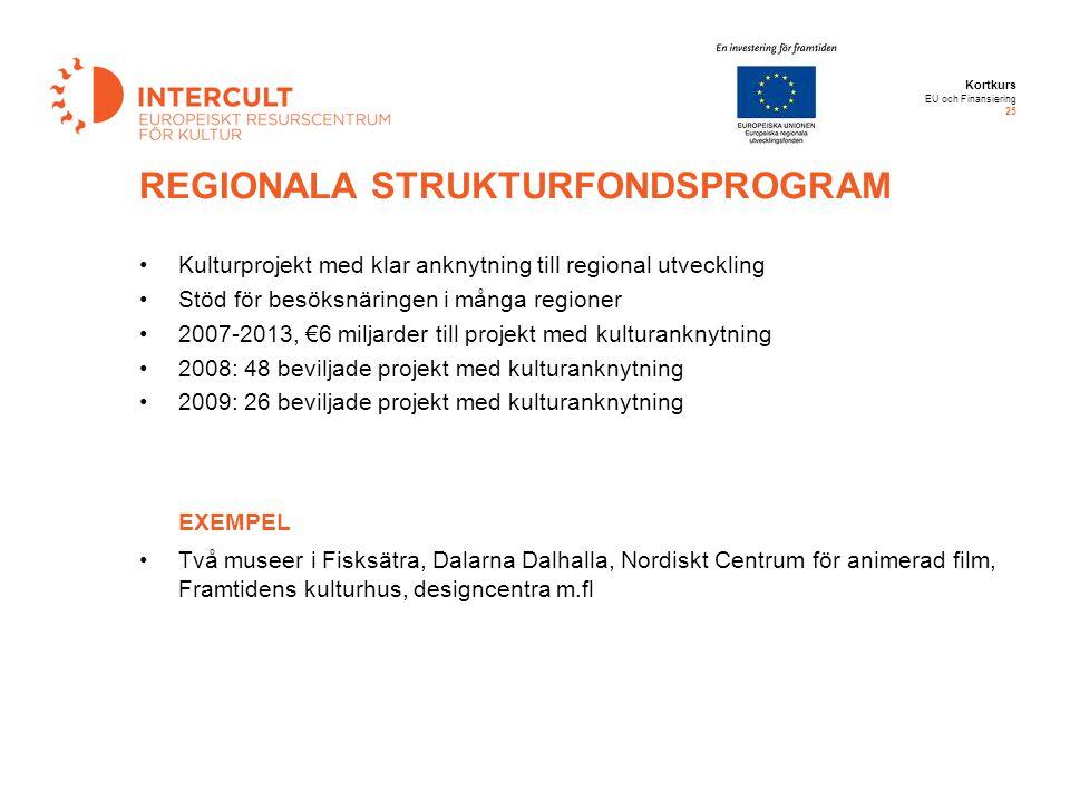Kortkurs EU och Finansiering 25 Kulturprojekt med klar anknytning till regional utveckling Stöd för besöksnäringen i många regioner 2007-2013, €6 milj