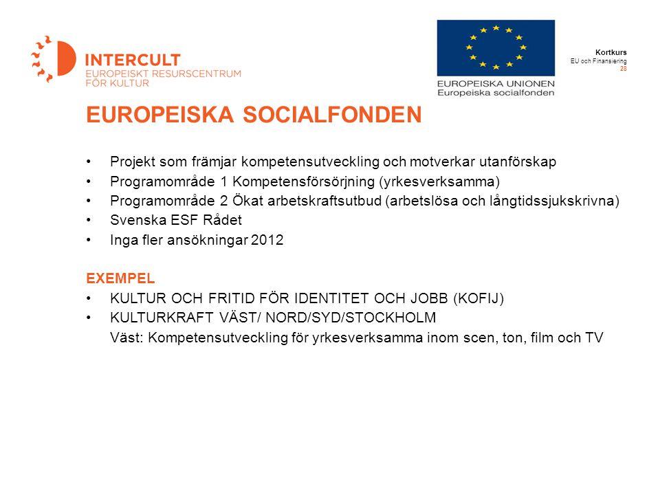 Kortkurs EU och Finansiering 28 Projekt som främjar kompetensutveckling och motverkar utanförskap Programområde 1 Kompetensförsörjning (yrkesverksamma