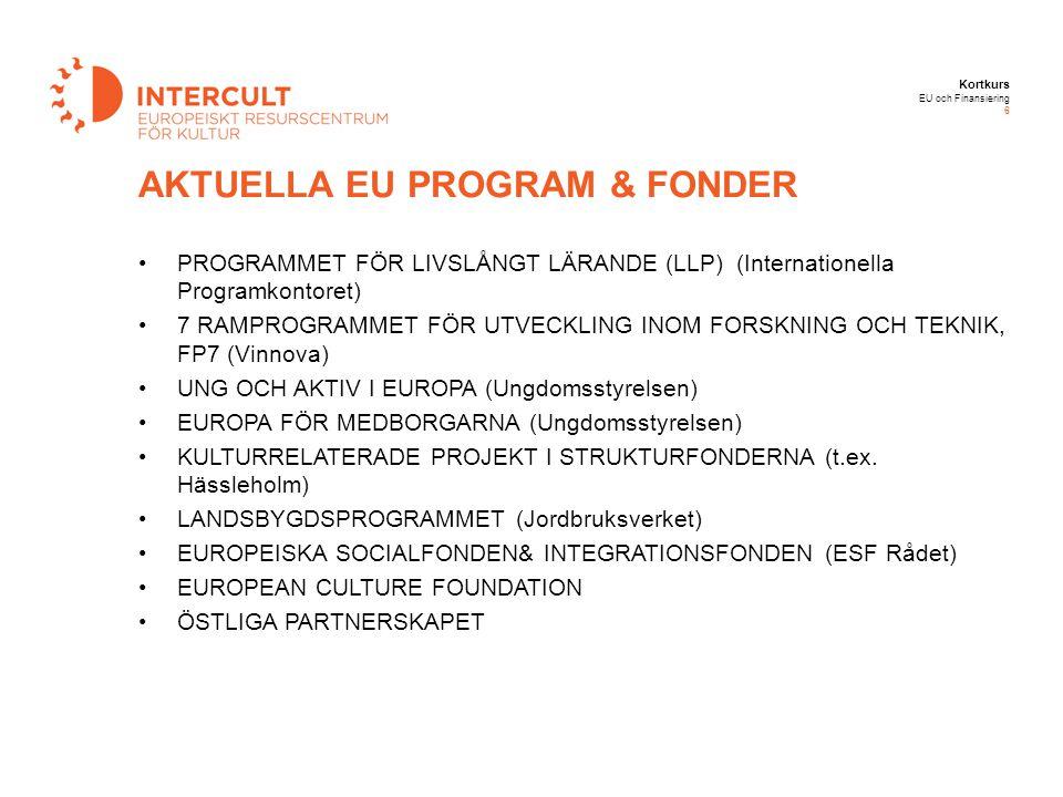 Kortkurs EU och Finansiering 6 PROGRAMMET FÖR LIVSLÅNGT LÄRANDE (LLP) (Internationella Programkontoret) 7 RAMPROGRAMMET FÖR UTVECKLING INOM FORSKNING