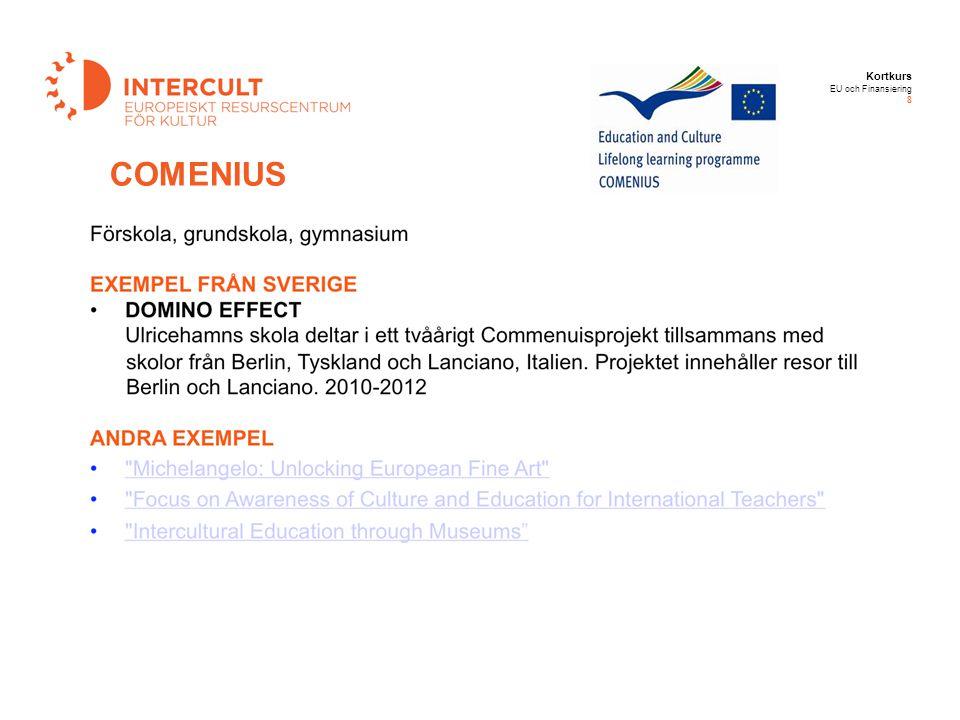Kortkurs EU och Finansiering 8 COMENIUS