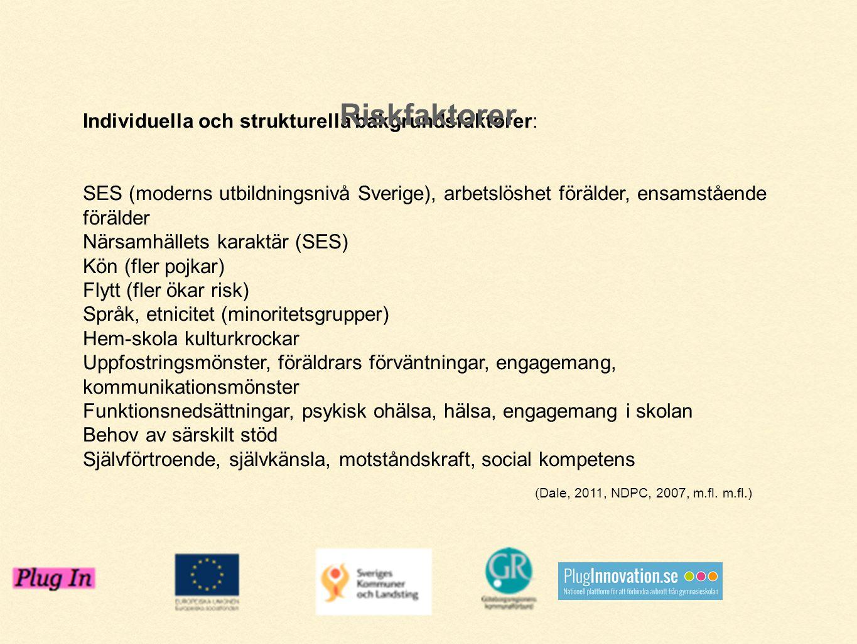 Individuella och strukturella bakgrundsfaktorer: SES (moderns utbildningsnivå Sverige), arbetslöshet förälder, ensamstående förälder Närsamhällets kar