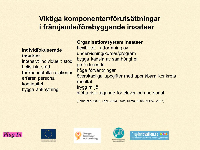Individfokuserade insatser: intensivt individuellt stöd holistiskt stöd förtroendefulla relationer erfaren personal kontinuitet bygga anknytning Organ