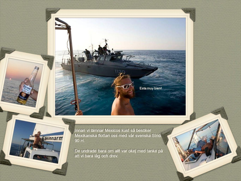 Innan vi lämnar Mexicos kust så besöker Mexikanska flottan oss med vår svenska Stridsbåt 90 H. De undrade bara om allt var okej med tanke på att vi ba