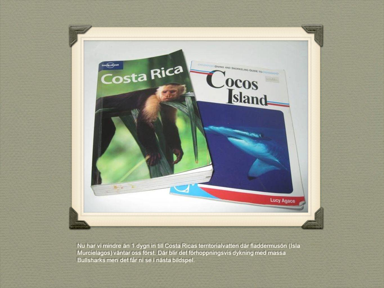 Nu har vi mindre än 1 dygn in till Costa Ricas territorialvatten där fladdermusön (Isla Murcielagos) väntar oss först. Där blir det förhoppningsvis dy