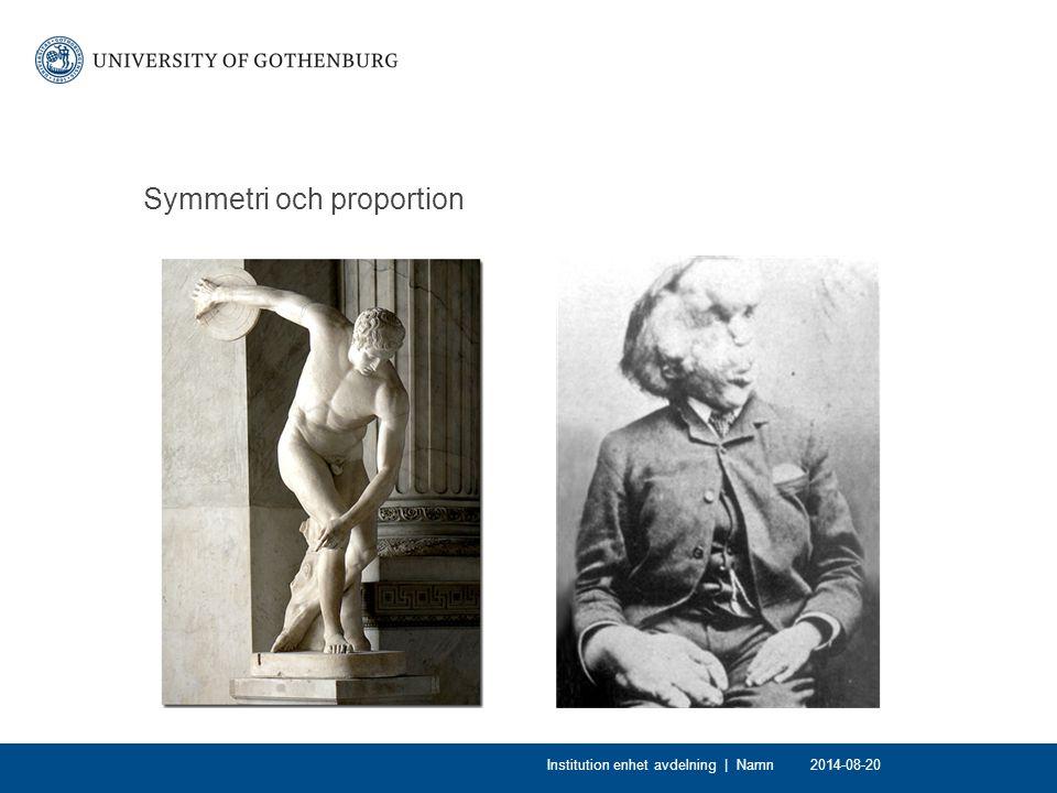 Symmetri och proportion 2014-08-20Institution enhet avdelning | Namn