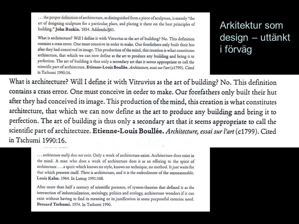Arkitektur som design – uttänkt i förväg