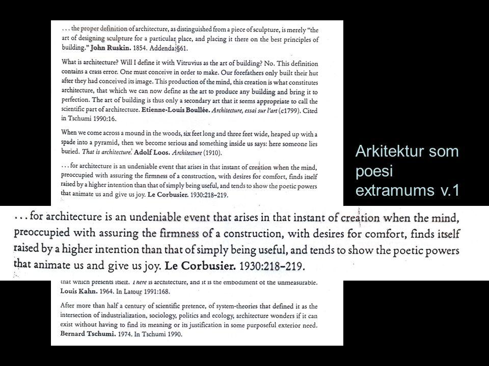 Arkitektur som poesi extramums v.1