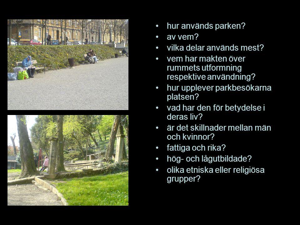 hur används parken? av vem? vilka delar används mest? vem har makten över rummets utformning respektive användning? hur upplever parkbesökarna platsen