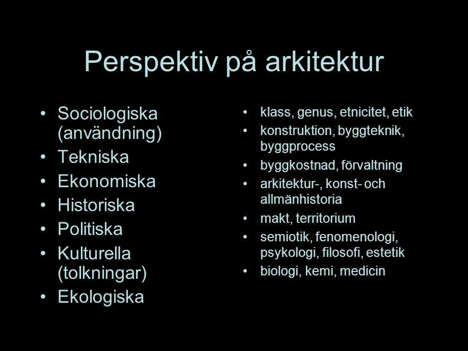 Perspektiv på arkitektur Sociologiska (användning) Tekniska Ekonomiska Historiska Politiska Kulturella (tolkningar) Ekologiska klass, genus, etnicitet