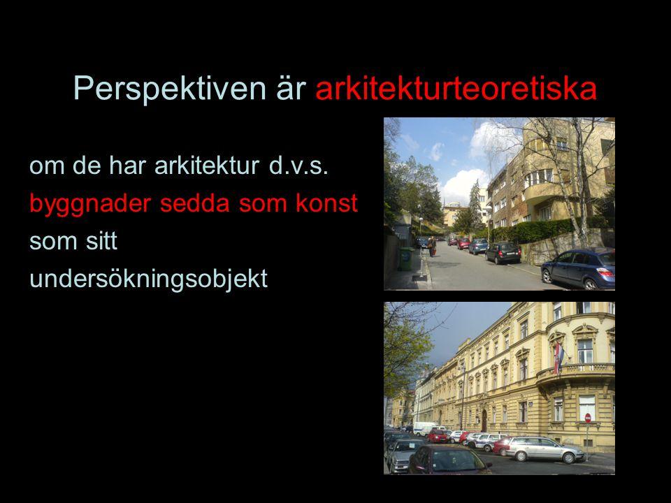 Perspektiven är arkitekturteoretiska om de har arkitektur d.v.s. byggnader sedda som konst som sitt undersökningsobjekt