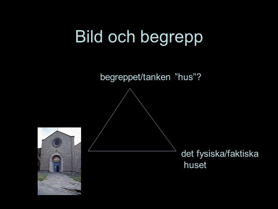 Den semiotiska triangeln semiotik = teckenlära, betydelselära begreppet/tanken hus .