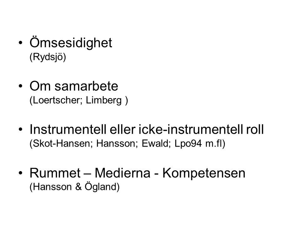 Ömsesidighet (Rydsjö) Om samarbete (Loertscher; Limberg ) Instrumentell eller icke-instrumentell roll (Skot-Hansen; Hansson; Ewald; Lpo94 m.fl) Rummet – Medierna - Kompetensen (Hansson & Ögland)