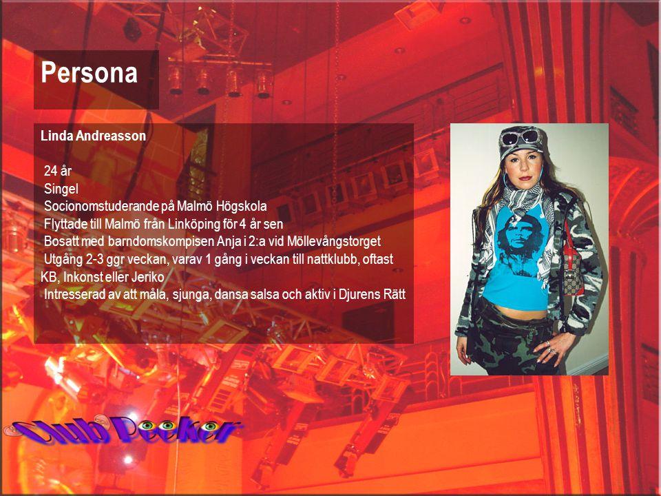 Linda Andreasson 24 år Singel Socionomstuderande på Malmö Högskola Flyttade till Malmö från Linköping för 4 år sen Bosatt med barndomskompisen Anja i 2:a vid Möllevångstorget Utgång 2-3 ggr veckan, varav 1 gång i veckan till nattklubb, oftast KB, Inkonst eller Jeriko Intresserad av att måla, sjunga, dansa salsa och aktiv i Djurens Rätt Persona