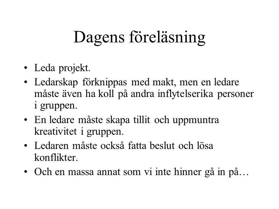 Dagens föreläsning Leda projekt.