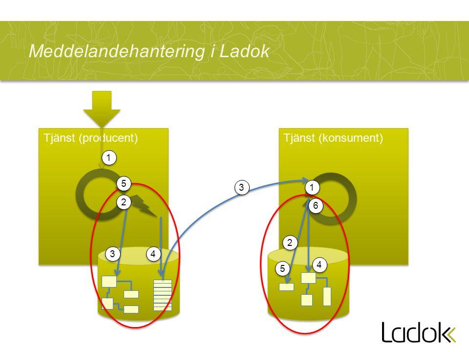 Meddelandehantering i Ladok Tjänst (producent) Tjänst (konsument) 1 1 2 2 3 3 4 4 5 5 1 1 2 2 3 3 4 4 5 5 6 6
