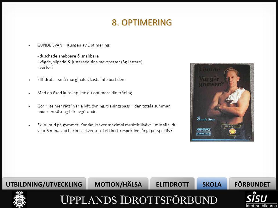 8. OPTIMERING GUNDE SVAN – Kungen av Optimering: - duschade snabbare & snabbare - vägde, slipade & justerade sina stavspetsar (3g lättare) - varför? E