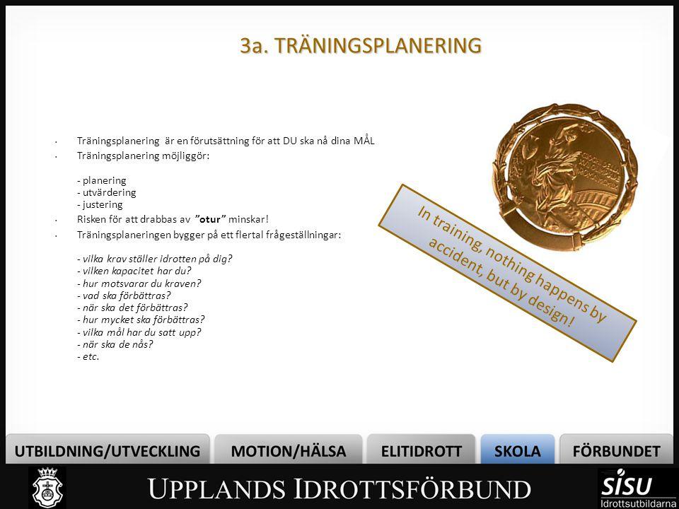 3a. TRÄNINGSPLANERING Träningsplanering är en förutsättning för att DU ska nå dina MÅL Träningsplanering möjliggör: - planering - utvärdering - juster