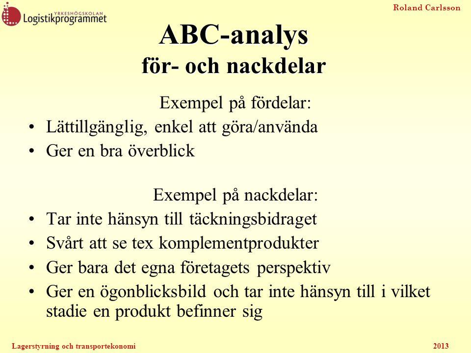 Roland Carlsson Lagerstyrning och transportekonomi2013 ABC-analys för- och nackdelar Exempel på fördelar: Lättillgänglig, enkel att göra/använda Ger e