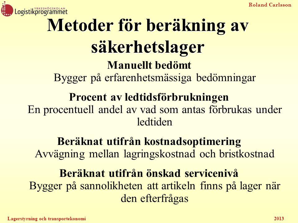Roland Carlsson Lagerstyrning och transportekonomi2013 Metoder för beräkning av säkerhetslager Manuellt bedömt Bygger på erfarenhetsmässiga bedömninga