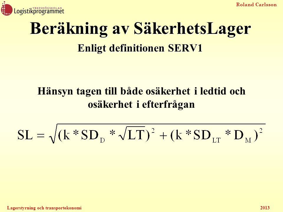 Roland Carlsson Lagerstyrning och transportekonomi2013 Beräkning av SäkerhetsLager Enligt definitionen SERV1 Hänsyn tagen till både osäkerhet i ledtid