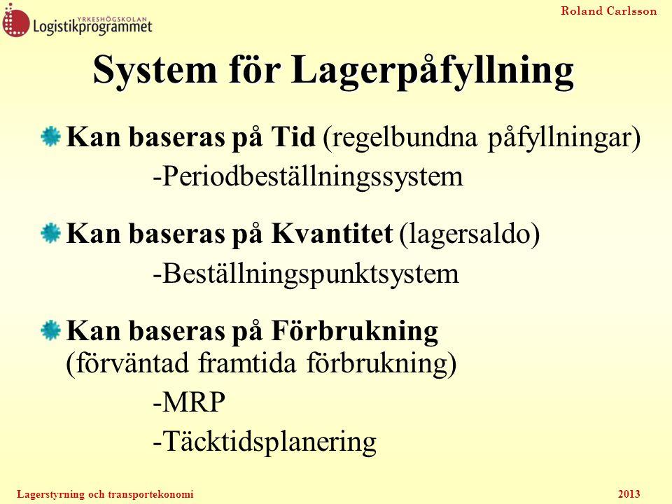 Roland Carlsson Lagerstyrning och transportekonomi2013 System för Lagerpåfyllning Kan baseras på Tid (regelbundna påfyllningar) -Periodbeställningssys
