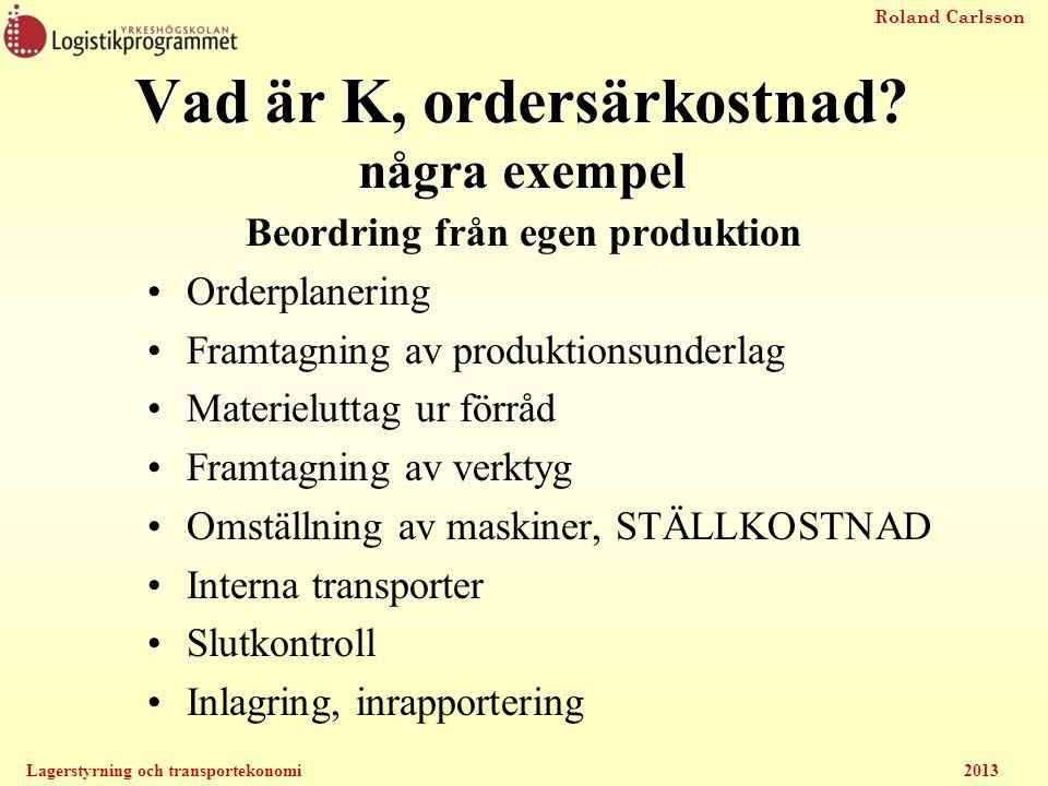 Roland Carlsson Lagerstyrning och transportekonomi2013 Beordring från egen produktion Orderplanering Framtagning av produktionsunderlag Materieluttag
