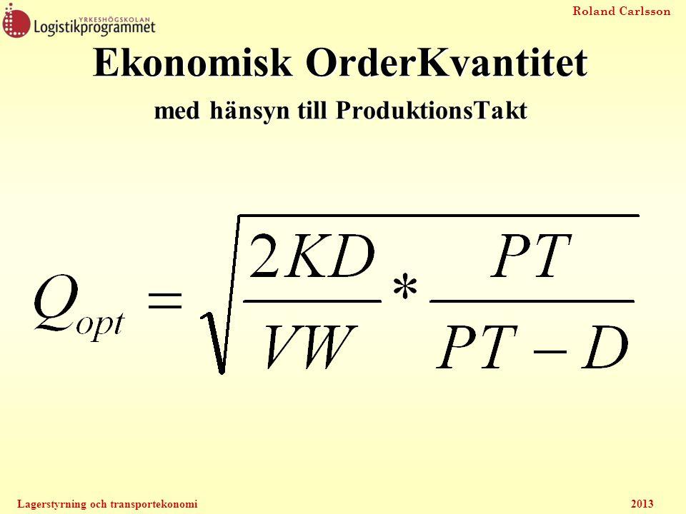 Roland Carlsson Lagerstyrning och transportekonomi2013 Ekonomisk OrderKvantitet med hänsyn till ProduktionsTakt