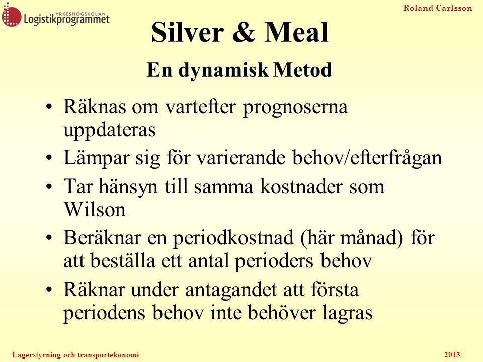 Roland Carlsson Lagerstyrning och transportekonomi2013 Silver & Meal En dynamisk Metod Räknas om vartefter prognoserna uppdateras Lämpar sig för varie