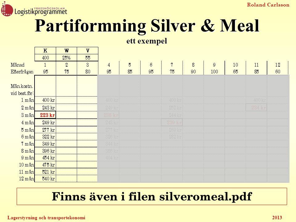 Roland Carlsson Lagerstyrning och transportekonomi2013 Partiformning Silver & Meal ett exempel Finns även i filen silveromeal.pdf