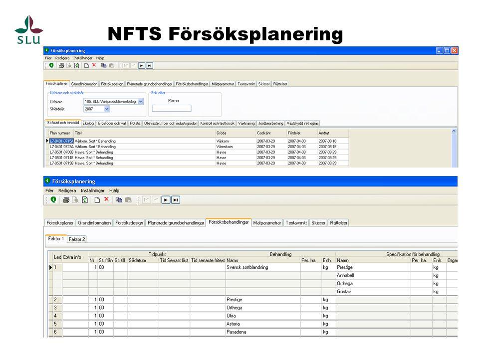 NFTS Försöksplanering