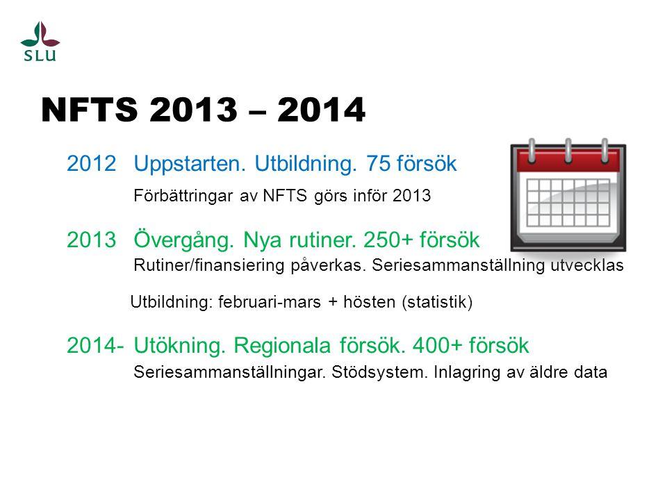 NFTS 2013 – 2014 2012 Uppstarten. Utbildning. 75 försök Förbättringar av NFTS görs inför 2013 2013 Övergång. Nya rutiner. 250+ försök Rutiner/finansie