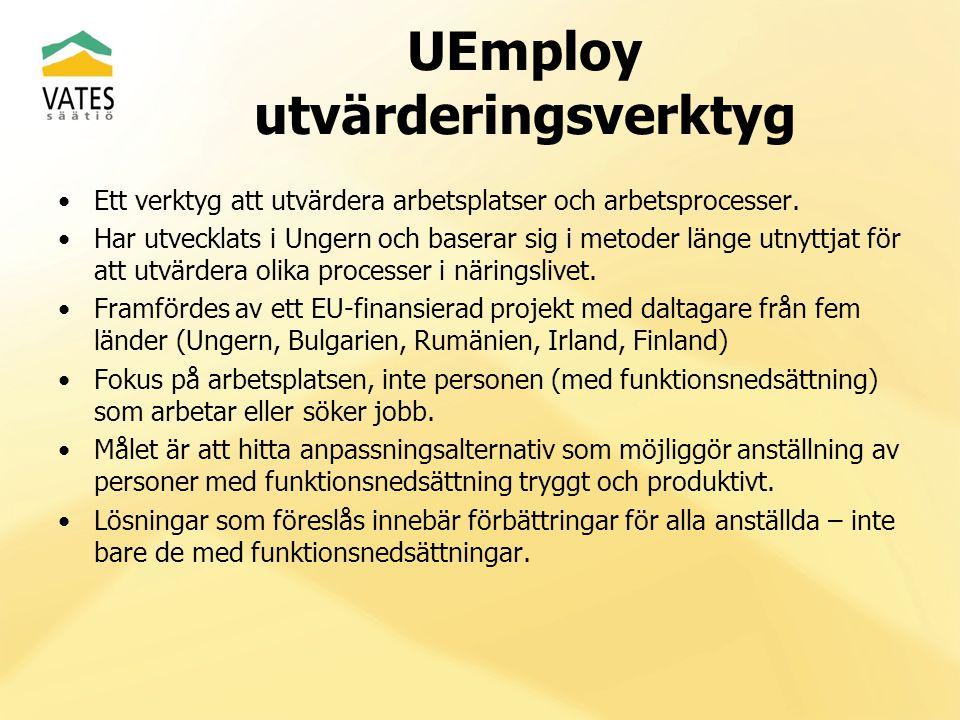 UEmploy utvärderingsverktyg Ett verktyg att utvärdera arbetsplatser och arbetsprocesser. Har utvecklats i Ungern och baserar sig i metoder länge utnyt