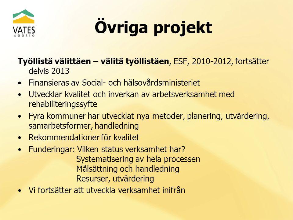 Övriga projekt Työllistä välittäen – välitä työllistäen, ESF, 2010-2012, fortsätter delvis 2013 Finansieras av Social- och hälsovårdsministeriet Utvec