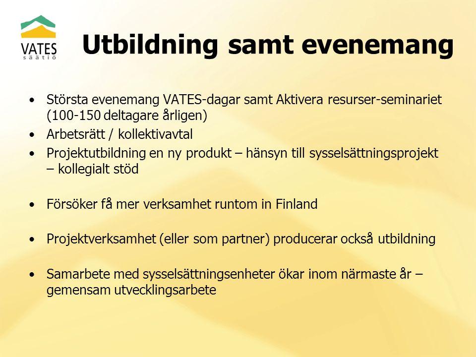 Utbildning samt evenemang Största evenemang VATES-dagar samt Aktivera resurser-seminariet (100-150 deltagare årligen) Arbetsrätt / kollektivavtal Projektutbildning en ny produkt – hänsyn till sysselsättningsprojekt – kollegialt stöd Försöker få mer verksamhet runtom in Finland Projektverksamhet (eller som partner) producerar också utbildning Samarbete med sysselsättningsenheter ökar inom närmaste år – gemensam utvecklingsarbete