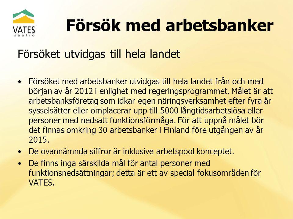 Försök med arbetsbanker Situation i början av 2013 Elva arbetsbanker, flera andra i förhandlingar Närmare till 1.000 personer Utveckling och tillväxt av existerande arbetsbanker kanske det viktigaste målet för 2013 Rapportering utvecklas och utbildning ökas