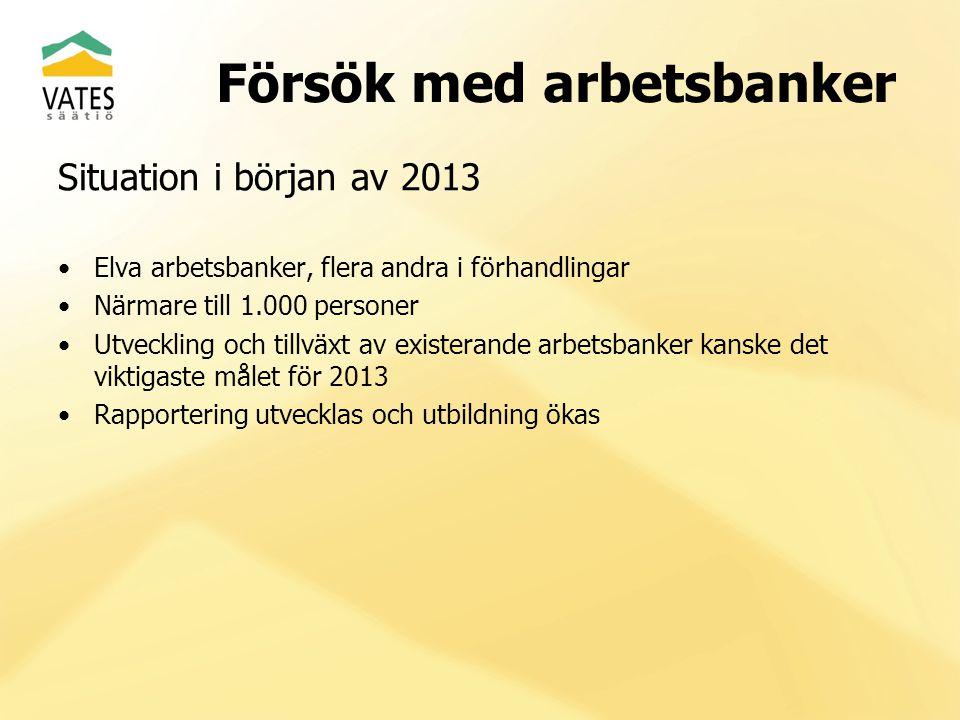 Försök med arbetsbanker Situation i början av 2013 Elva arbetsbanker, flera andra i förhandlingar Närmare till 1.000 personer Utveckling och tillväxt