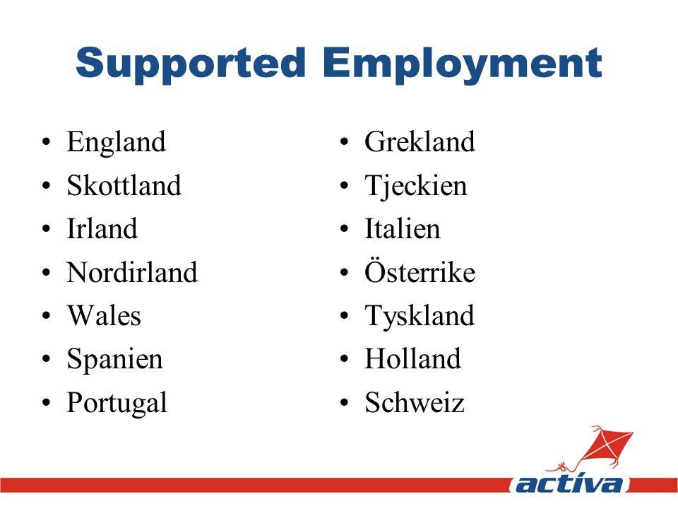 Supported Employment England Skottland Irland Nordirland Wales Spanien Portugal Grekland Tjeckien Italien Österrike Tyskland Holland Schweiz