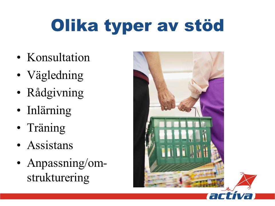 Olika typer av stöd Konsultation Vägledning Rådgivning Inlärning Träning Assistans Anpassning/om- strukturering