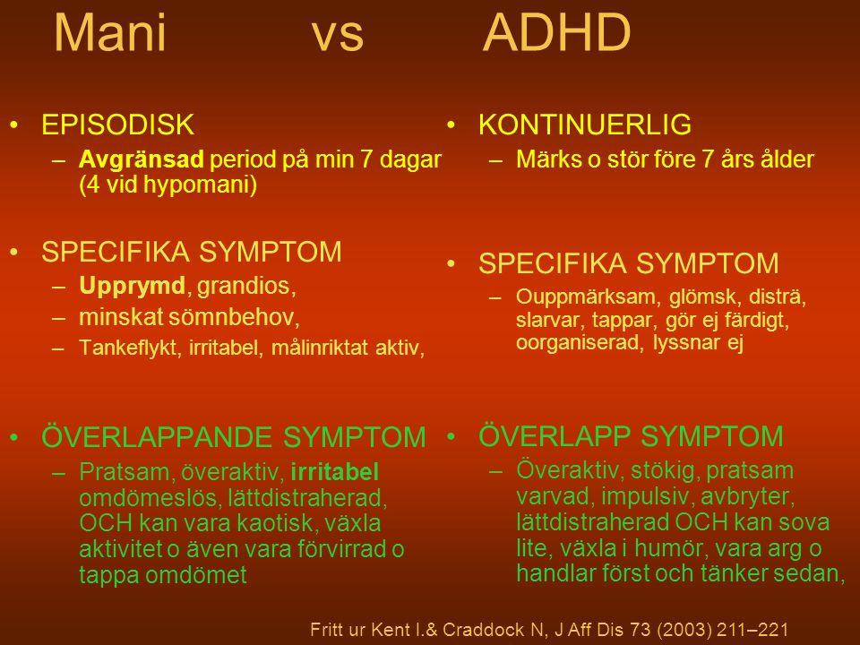 Mani vs ADHD EPISODISK –Avgränsad period på min 7 dagar (4 vid hypomani) SPECIFIKA SYMPTOM –Upprymd, grandios, –minskat sömnbehov, –Tankeflykt, irrita