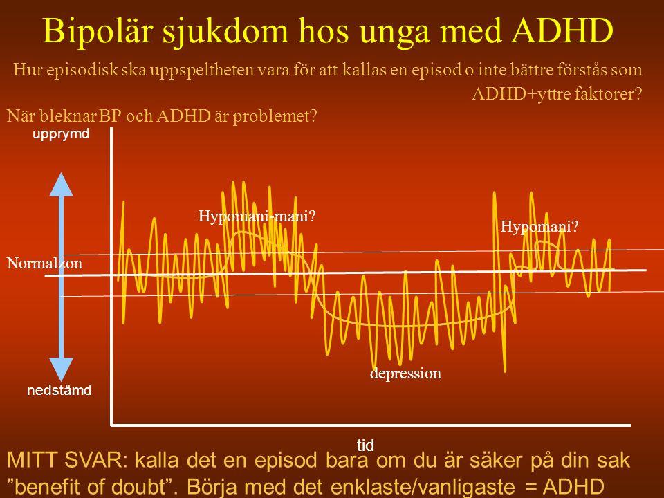 Bipolär sjukdom hos unga med ADHD Hur episodisk ska uppspeltheten vara för att kallas en episod o inte bättre förstås som ADHD+yttre faktorer? När ble