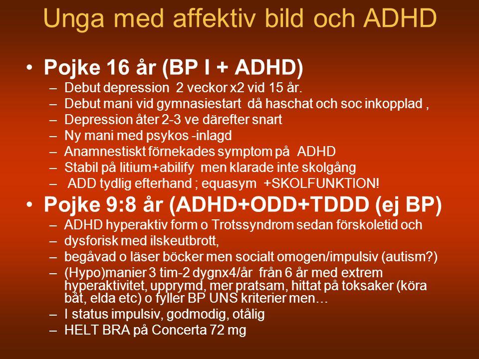 Unga med affektiv bild och ADHD Pojke 16 år (BP I + ADHD) –Debut depression 2 veckor x2 vid 15 år. –Debut mani vid gymnasiestart då haschat och soc in