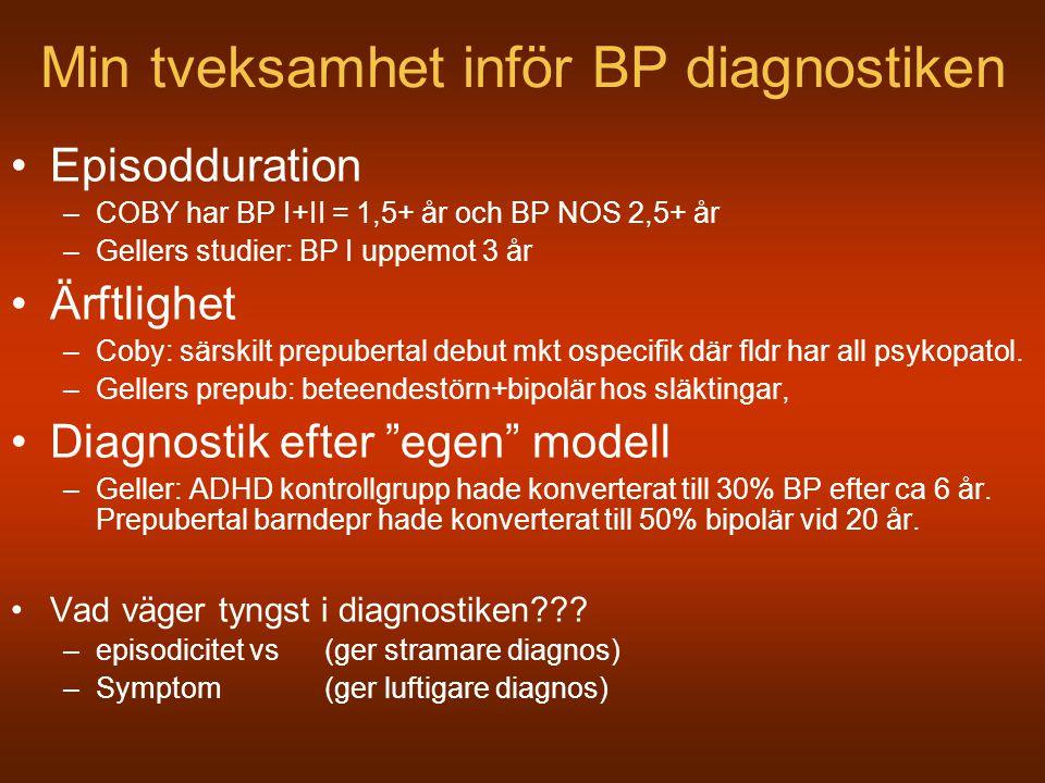 Min tveksamhet inför BP diagnostiken Episodduration –COBY har BP I+II = 1,5+ år och BP NOS 2,5+ år –Gellers studier: BP I uppemot 3 år Ärftlighet –Cob