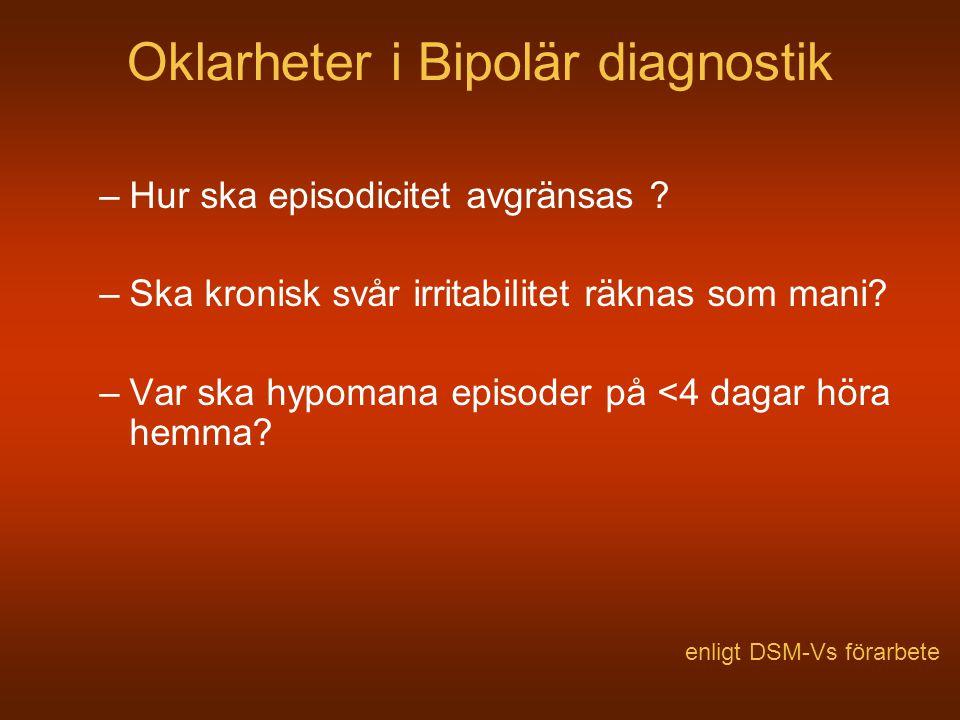 Oklarheter i Bipolär diagnostik –Hur ska episodicitet avgränsas ? –Ska kronisk svår irritabilitet räknas som mani? –Var ska hypomana episoder på <4 da