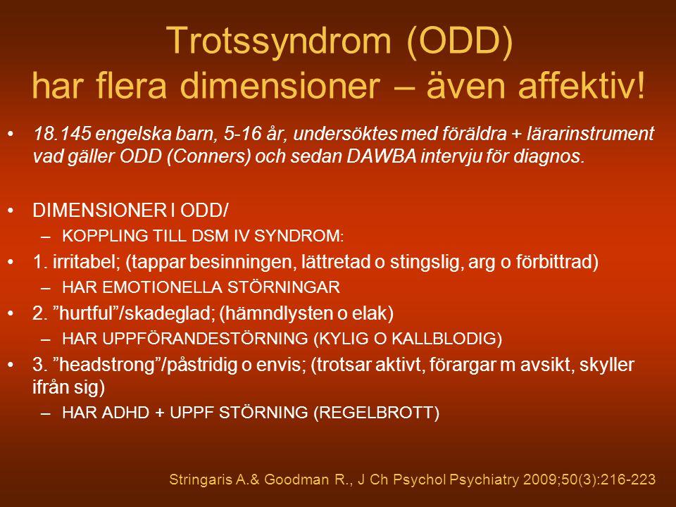 Trotssyndrom (ODD) har flera dimensioner – även affektiv! 18.145 engelska barn, 5-16 år, undersöktes med föräldra + lärarinstrument vad gäller ODD (Co