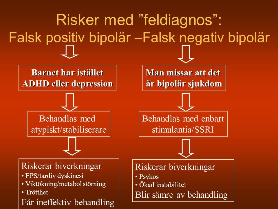 """Risker med """"feldiagnos"""": Falsk positiv bipolär –Falsk negativ bipolär Barnet har istället ADHD eller depression Man missar att det är bipolär sjukdom"""
